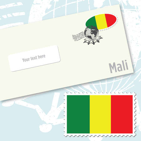 Mali envelope design with country flag stamp and postal stamping