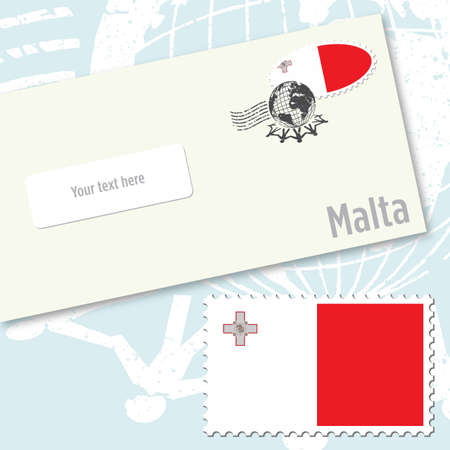 Malta envelope design with country flag stamp and postal stamping