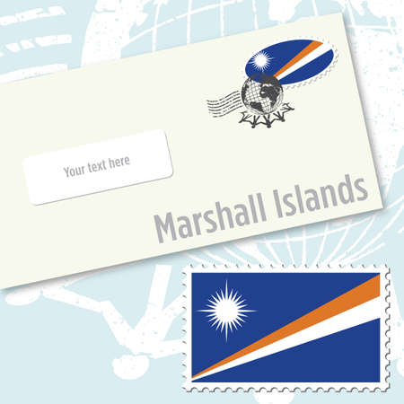 oceania: Marshall Islands envelope design with country flag stamp and postal stamping