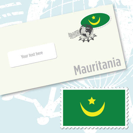 Mauritania envelope design with country flag stamp and postal stamping