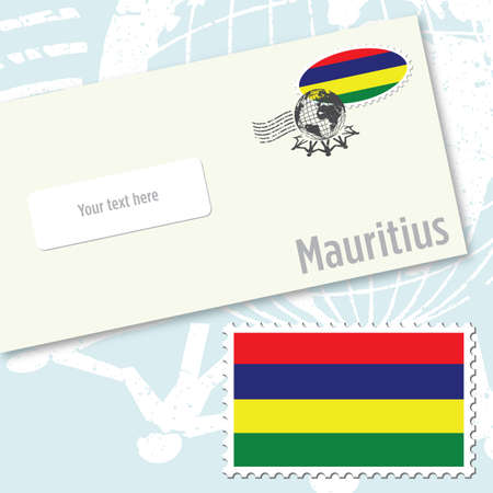 Mauritius envelope design with country flag stamp and postal stamping