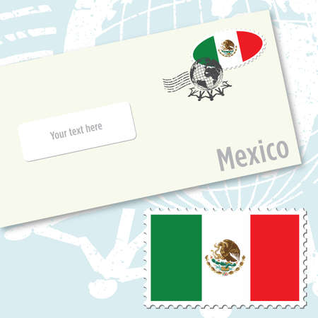 mexico beach: Mexico envelope design with country flag stamp and postal stamping Illustration
