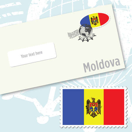 Modolva envelope design with country flag stamp and postal stamping Vettoriali