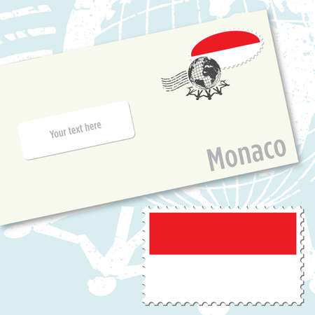 Monaco envelope design with country flag stamp and postal stamping Vettoriali