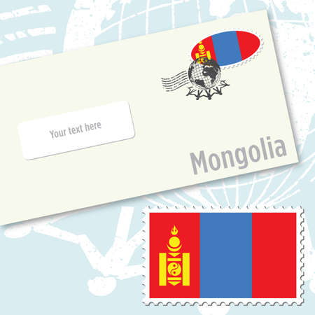 Mongolia envelope design with country flag stamp and postal stamping Illustration