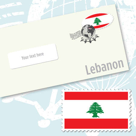 Lebanon envelope design with country flag stamp and postal stamping Vettoriali
