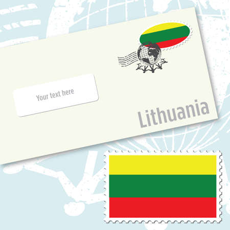 Lithuania envelope design with country flag stamp and postal stamping Vettoriali