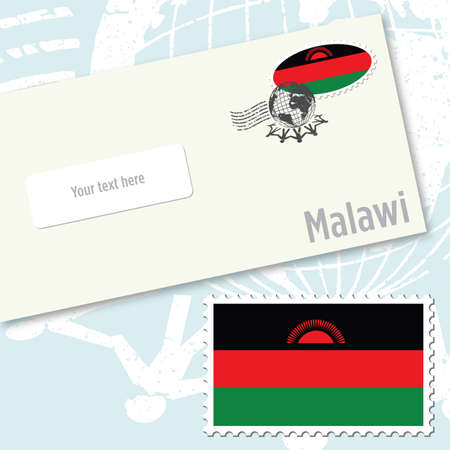 Malawi envelope design with country flag stamp and postal stamping