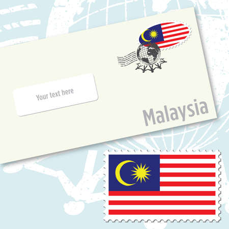stamping: Malaysia envelope design with country flag stamp and postal stamping