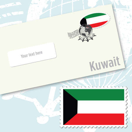 Kuwait envelope design with country flag stamp and postal stamping Vettoriali