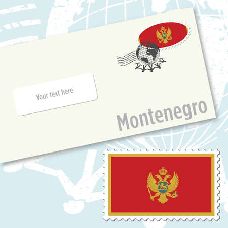 Montenegro envelope design with country flag stamp and postal stamping