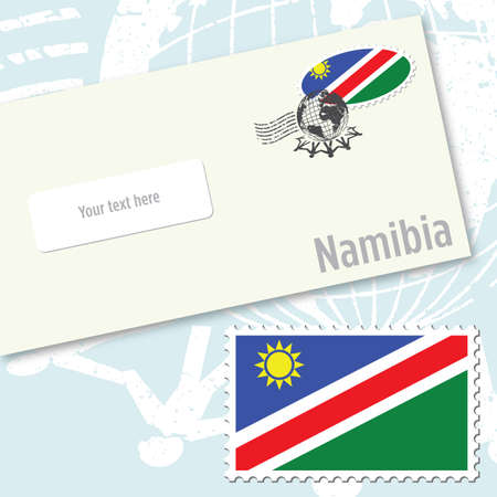 Namibia envelope design with country flag stamp and postal stamping Vector