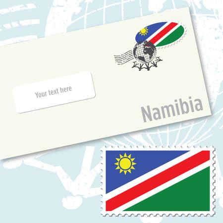 envelope design: Namibia envelope design with country flag stamp and postal stamping Illustration