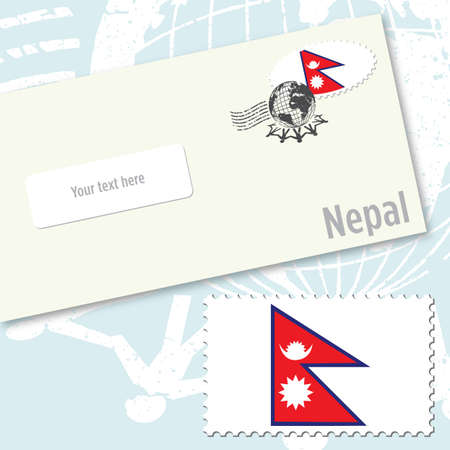 Nepal envelope design with country flag stamp and postal stamping Фото со стока - 9082219