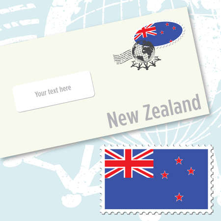 oceania: New Zealand envelope design with country flag stamp and postal stamping