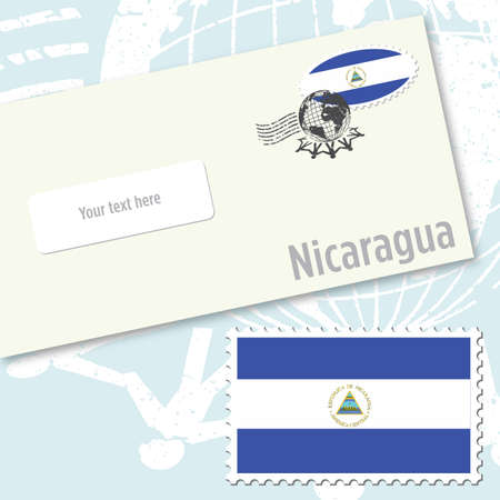 stamping: Nicaragua envelope design with country flag stamp and postal stamping