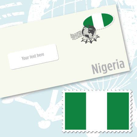 Nigeria envelope design with country flag stamp and postal stamping Illustration