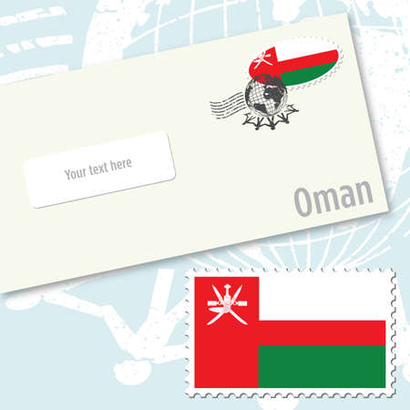 Oman envelope design with country flag stamp and postal stamping Stock Vector - 9082230