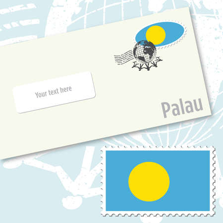 envelope design: Palau envelope design with country flag stamp and postal stamping
