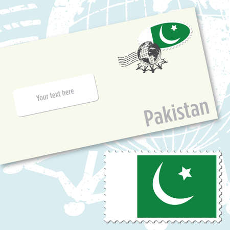 Pakistan envelope design with country flag stamp and postal stamping Stock Vector - 9082218