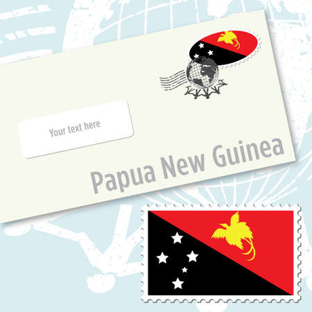 oceania: Papua New Guinea envelope design with country flag stamp and postal stamping Illustration