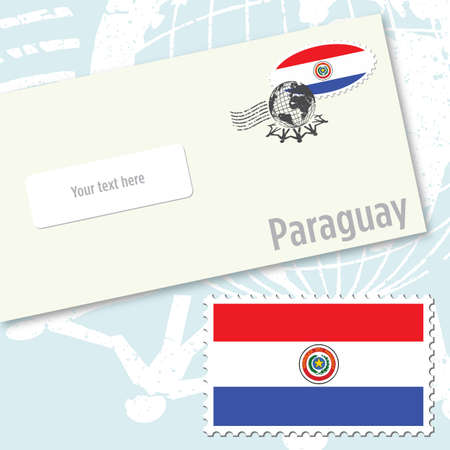 Paraguay envelope design with country flag stamp and postal stamping Illustration