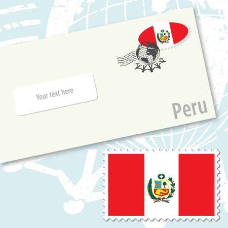 bandera peru: Dise�o de sobres de Per� con sello de bandera del pa�s y de sello postal