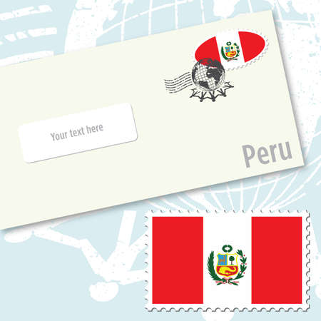 Peru envelope design with country flag stamp and postal stamping Illustration