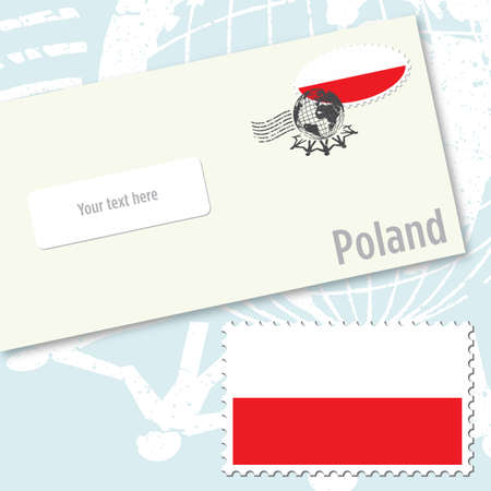 Poland envelope design with country flag stamp and postal stamping
