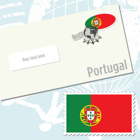 Portugal envelope design with country flag stamp and postal stamping Illustration