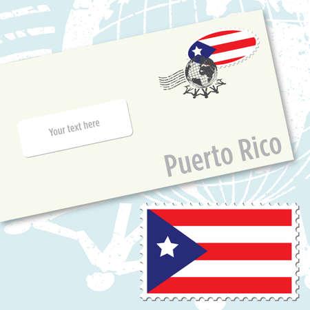 bandera de puerto rico: Dise�o de sobres de Puerto Rico con el sello de bandera del pa�s y de sello postal Vectores