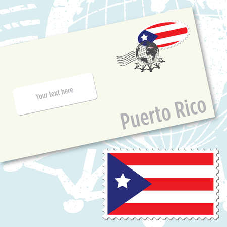 Puerto Rico envelope design with country flag stamp and postal stamping