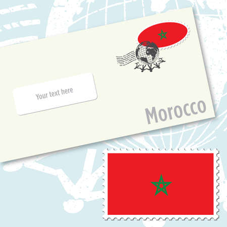 Morocco envelope design with country flag stamp and postal stamping