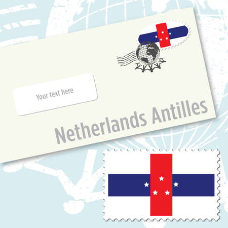 Netherlands Antilles envelope design with country flag stamp and postal stamping Vettoriali