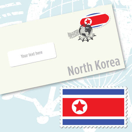 North Korea envelope design with country flag stamp and postal stamping Vettoriali