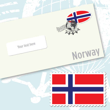Norway envelope design with country flag stamp and postal stamping