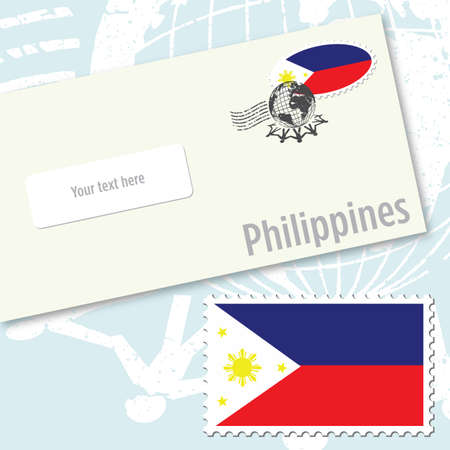 Philippines envelope design with country flag stamp and postal stamping