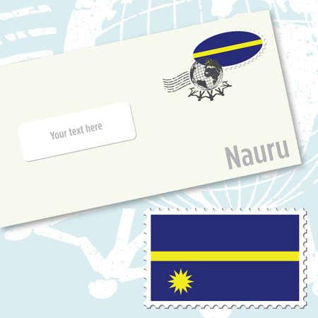 Nauru envelope design with country flag stamp and postal stamping Illustration