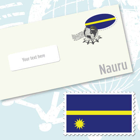 Nauru envelope design with country flag stamp and postal stamping Vettoriali
