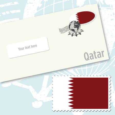 emboutissage: Conception de l'enveloppe avec le timbre Quatar drapeau du pays et de l'affranchissement postal Illustration