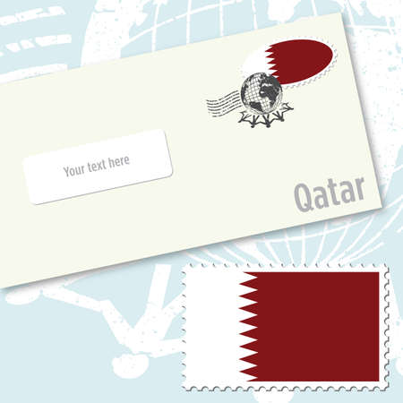 Quatar envelope design with country flag stamp and postal stamping