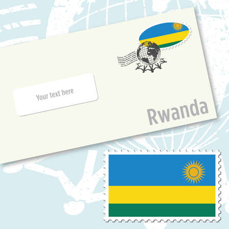 Rwanda envelope design with country flag stamp and postal stamping Vettoriali