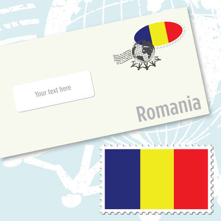 Romania envelope design with country flag stamp and postal stamping Vettoriali