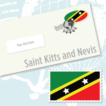 Saint Kitts and Nevis envelope design with country flag stamp and postal stamping Vettoriali