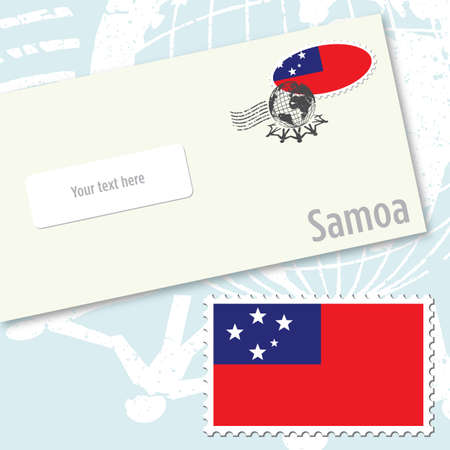 Samoa envelope design with country flag stamp and postal stamping Vettoriali