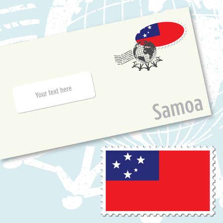 Samoa envelope design with country flag stamp and postal stamping Illustration