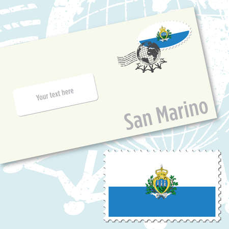 San Marino envelope design with country flag stamp and postal stamping Vettoriali