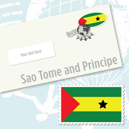 principe: Dise�o de sobres de Santo Tom� y Pr�ncipe con sello de bandera del pa�s y de sello postal