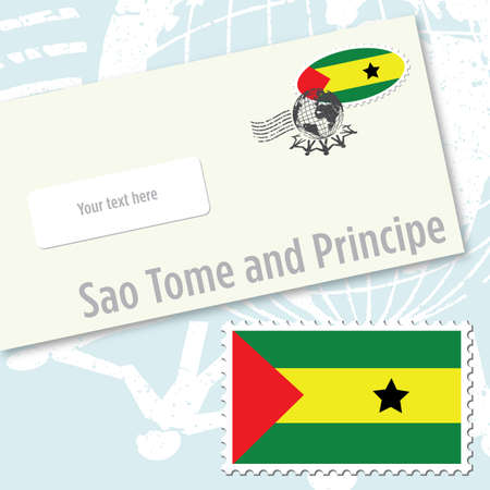 tome: Sao Tome and Principe envelope design with country flag stamp and postal stamping