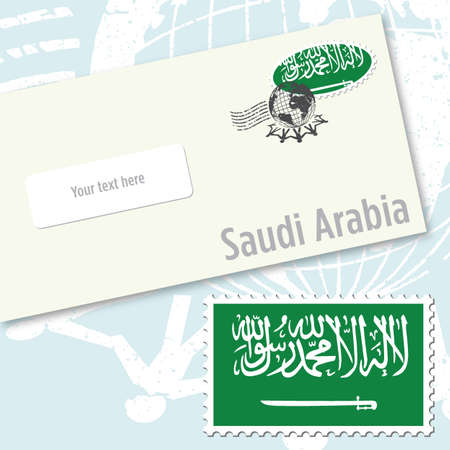 Saudi Arabia envelope design with country flag stamp and postal stamping